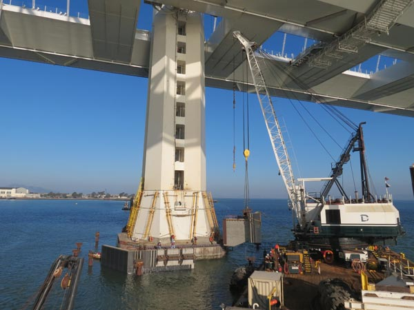 Dutra Group | Marine Construction | San Francisco Oakland Bay Bridge Self Anchored Suspension Span - Fender Installation